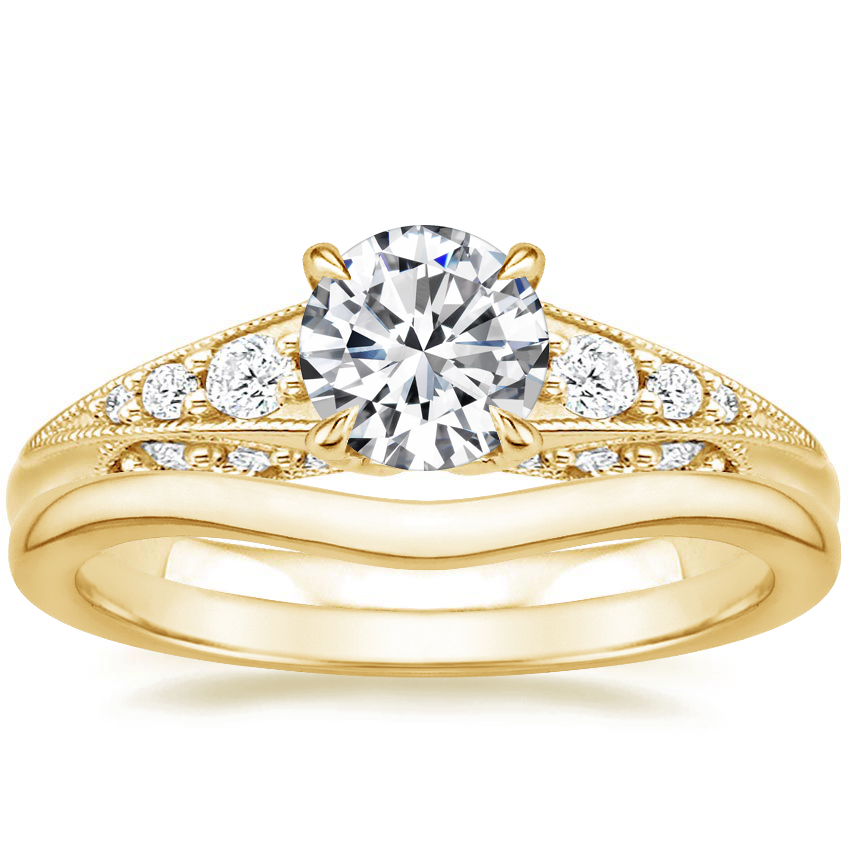 18K Yellow Gold Serafina Diamond Ring (1/4 ct. tw.) with Petite Curved Wedding Ring