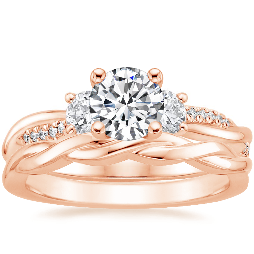 14K Rose Gold Three Stone Petite Twisted Vine Diamond Ring with Twisted Vine Ring