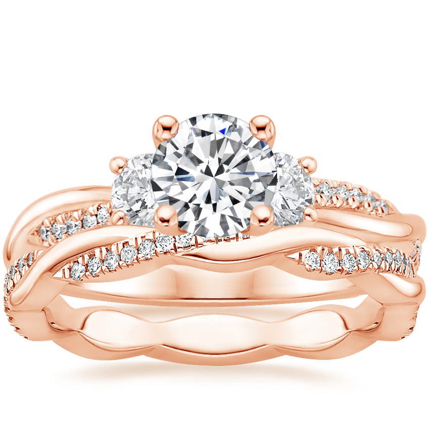 14K Rose Gold Three Stone Petite Twisted Vine Diamond Ring (2/5 ct. tw.) with Petite Twisted Vine Eternity Diamond Ring (1/5 ct. tw.)