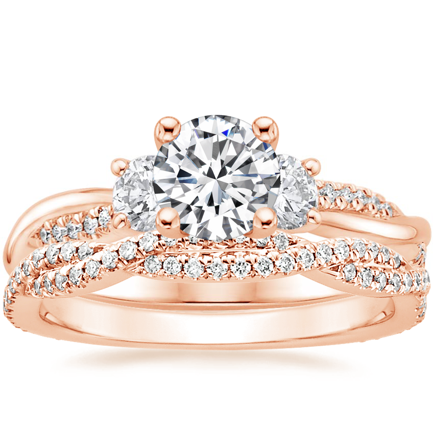 14K Rose Gold Three Stone Petite Twisted Vine Diamond Ring with Petite Luxe Twisted Vine Diamond Ring