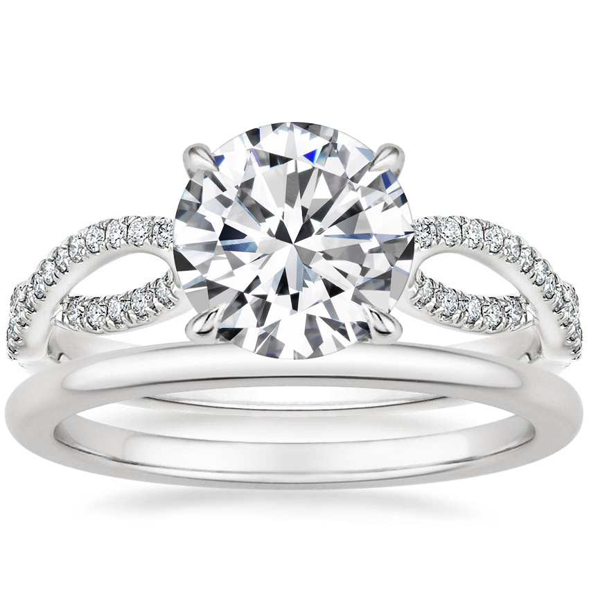 Platinum Cascade Diamond Ring with Petite Comfort Fit Wedding Ring
