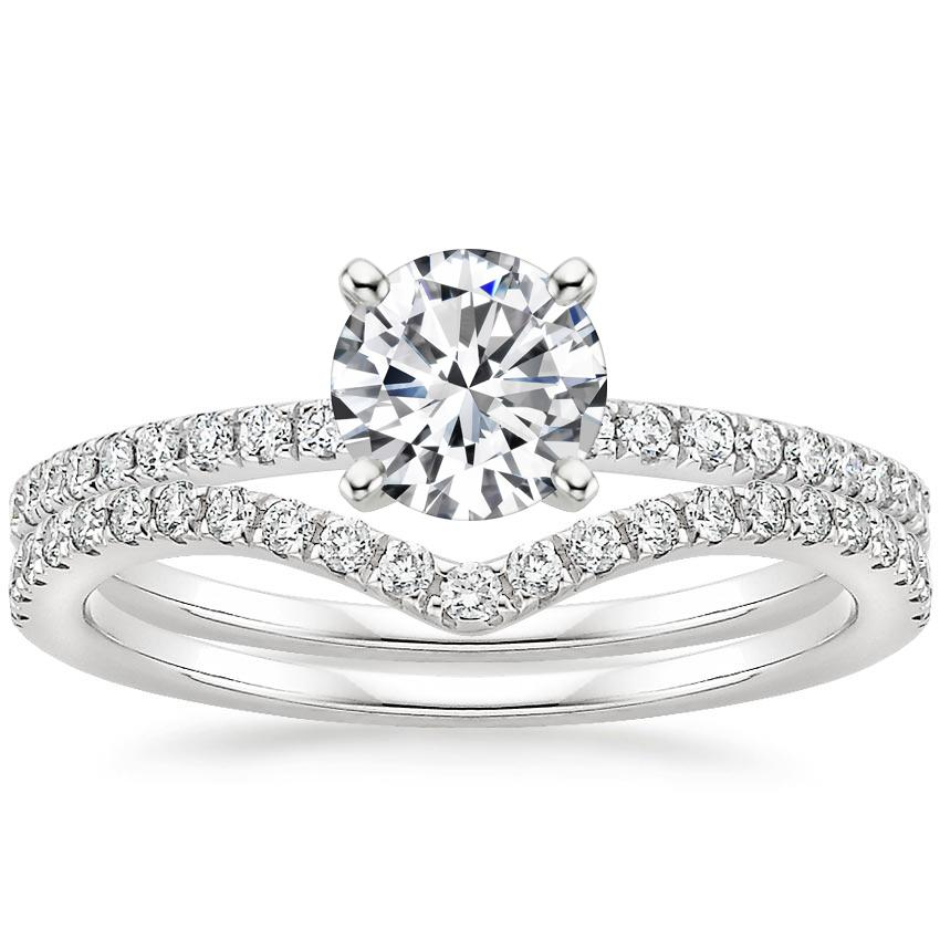 18K White Gold Ballad Diamond Ring (1/8 ct. tw.) with Flair Diamond Ring (1/6 ct. tw.)