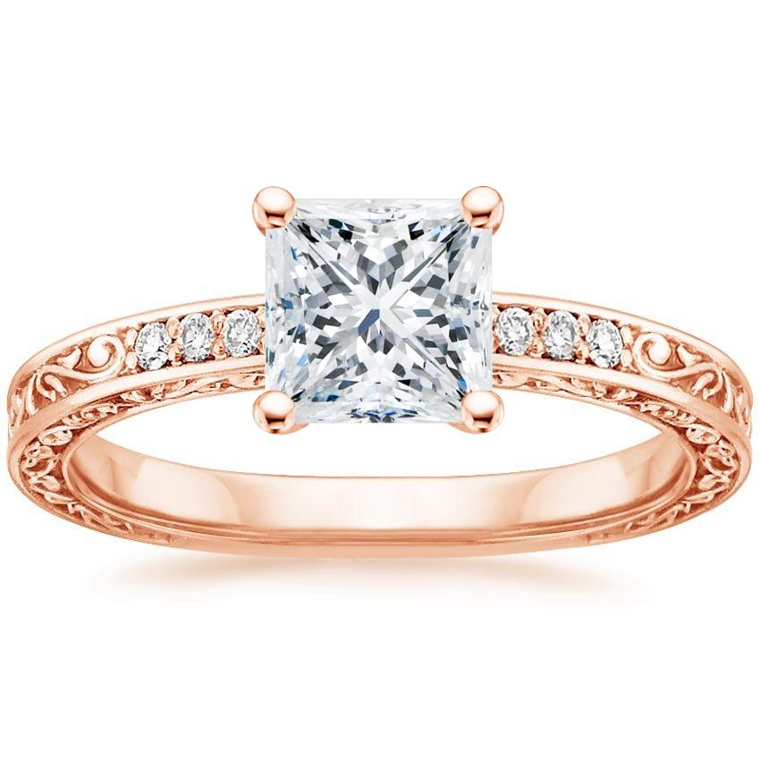 Princess 14K Rose Gold Delicate Antique Scroll Diamond Ring