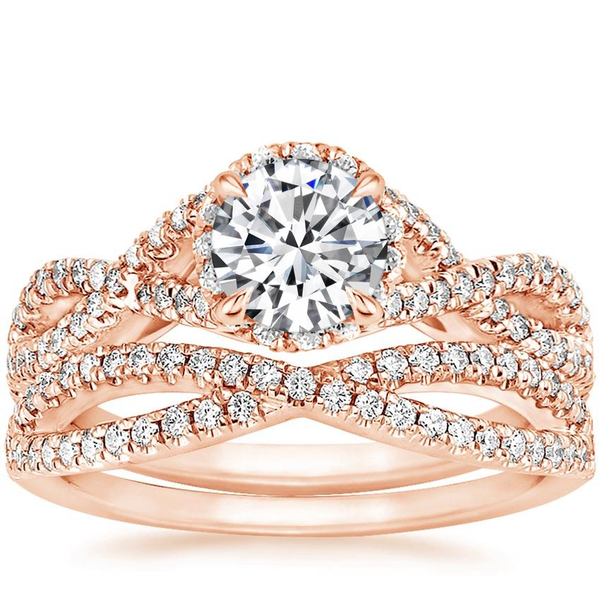 14K Rose Gold Entwined Halo Diamond Bridal Set (1/2 ct. tw.)