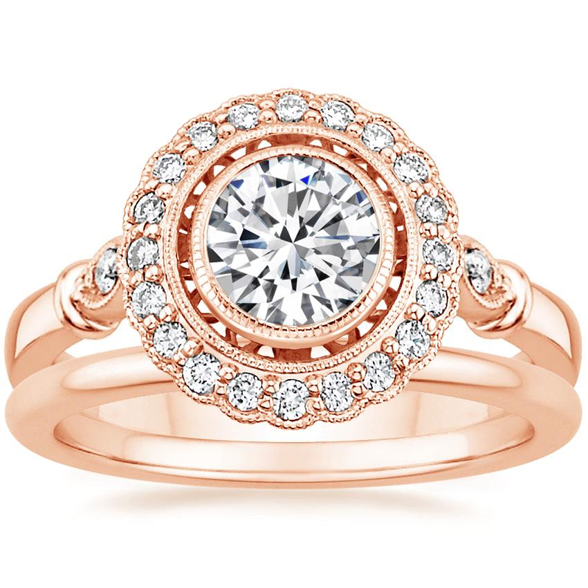14K Rose Gold Bella Diamond Ring with Petite Comfort Fit Wedding Ring