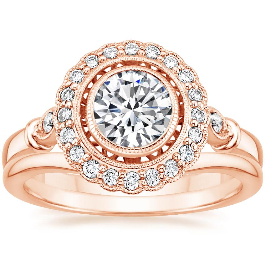 14K Rose Gold Bella Diamond Ring with Petite Curved Wedding Ring