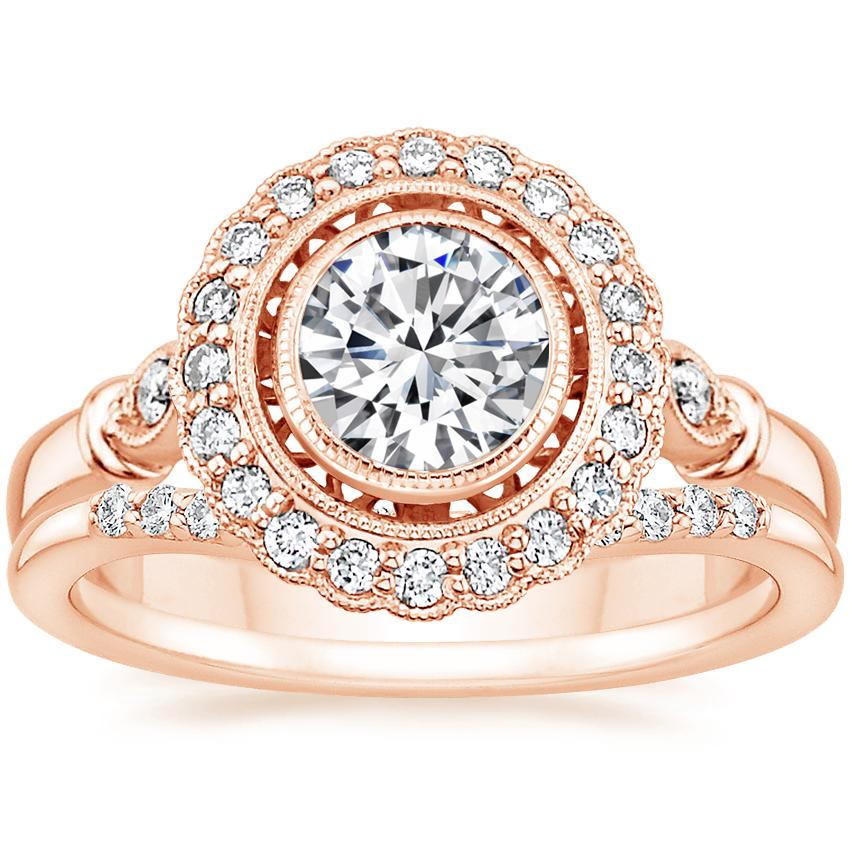 14K Rose Gold Bella Diamond Ring with Petite Curved Diamond Ring