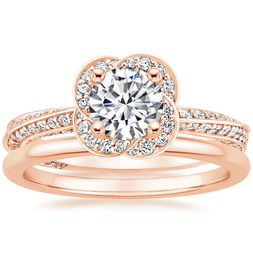 14K Rose Gold Azalea Diamond Ring with Petite Comfort Fit Wedding Ring