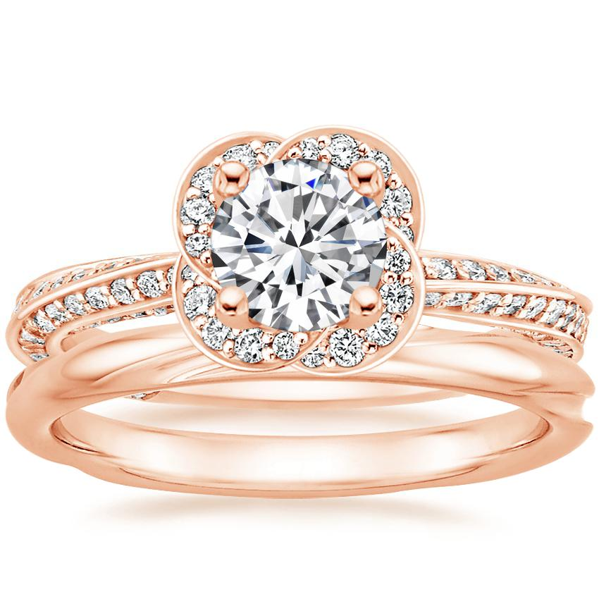 14K Rose Gold Azalea Diamond Ring with Twisting Wedding Ring