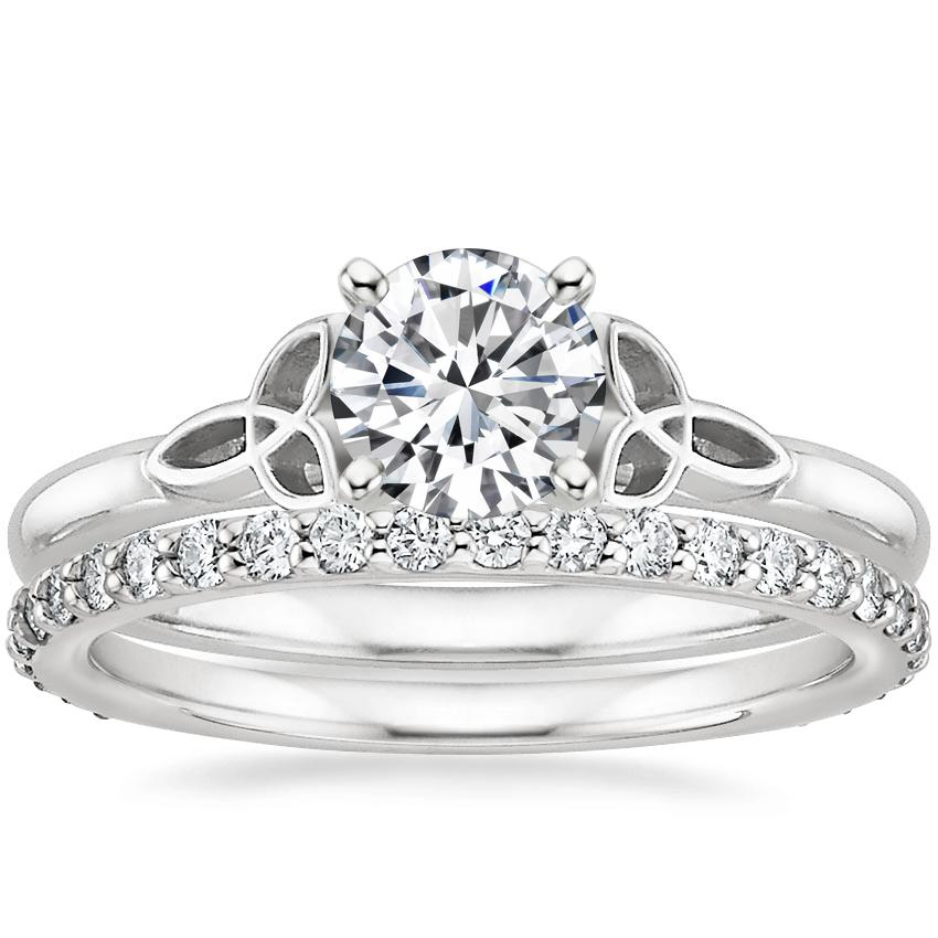 18K White Gold Celtic Love Knot Ring with Petite Shared Prong Eternity Diamond Ring (1/2 ct. tw.)