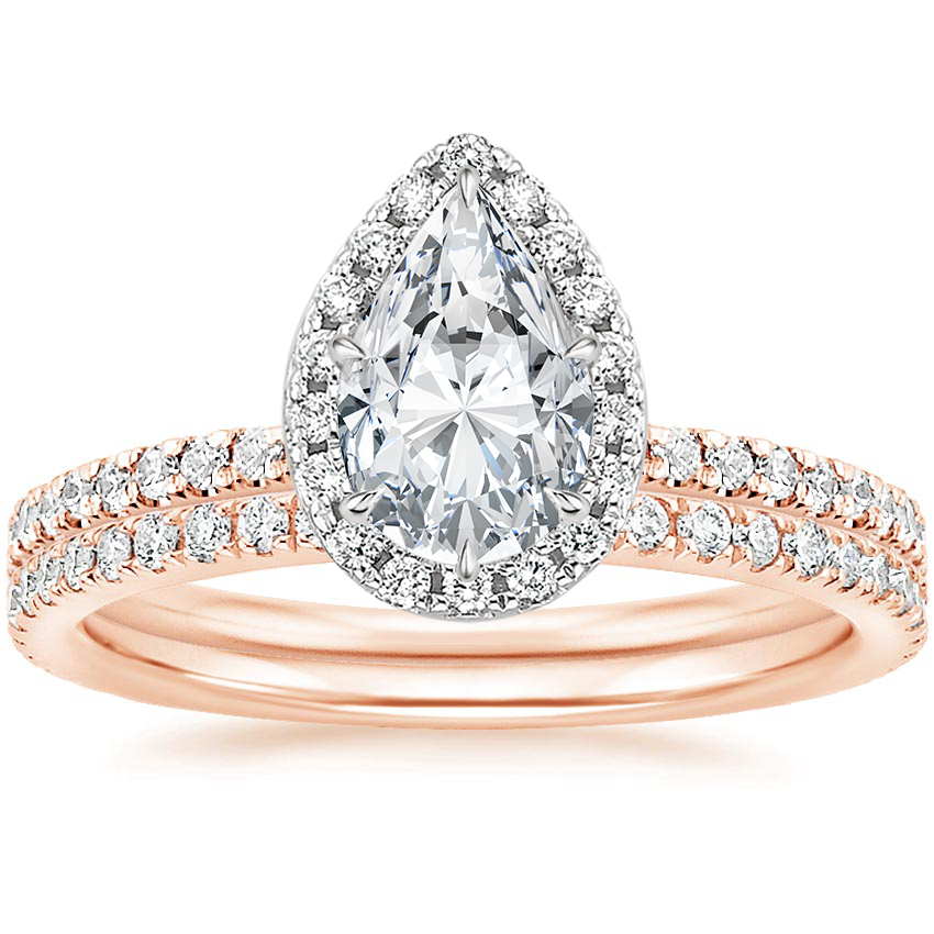 14K Rose Gold Mixed Metal Waverly Diamond Bridal Set (3/4 ct. tw.)