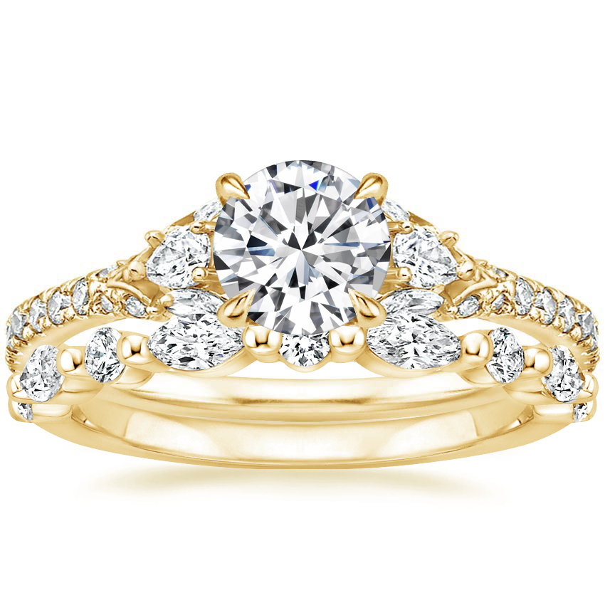 18K Yellow Gold Ava Diamond Ring (1/2 ct. tw.) with Versailles Diamond Ring (2/5 ct. tw.)