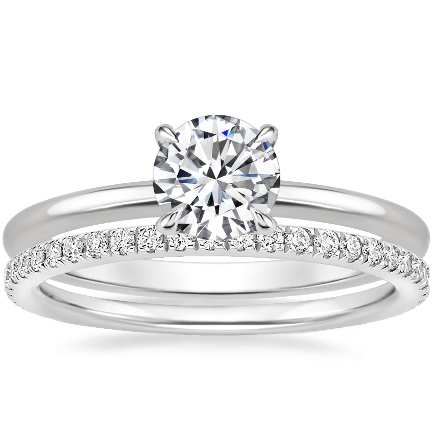 18K White Gold Petite Elodie Ring with Luxe Ballad Diamond Ring (1/4 ct. tw.)