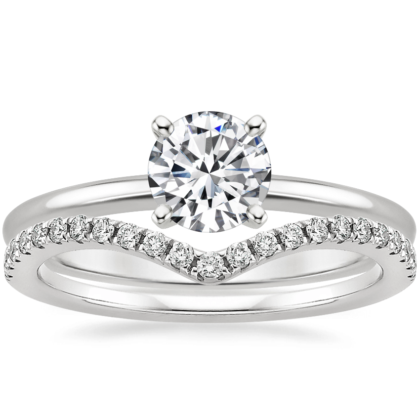 18K White Gold Four-Prong Petite Comfort Fit Ring with Flair Diamond Ring (1/6 ct. tw.)