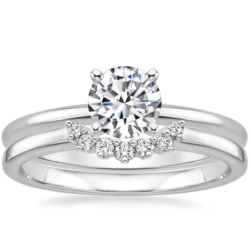 18K White Gold Four-Prong Petite Comfort Fit Ring with Crescent Diamond Ring