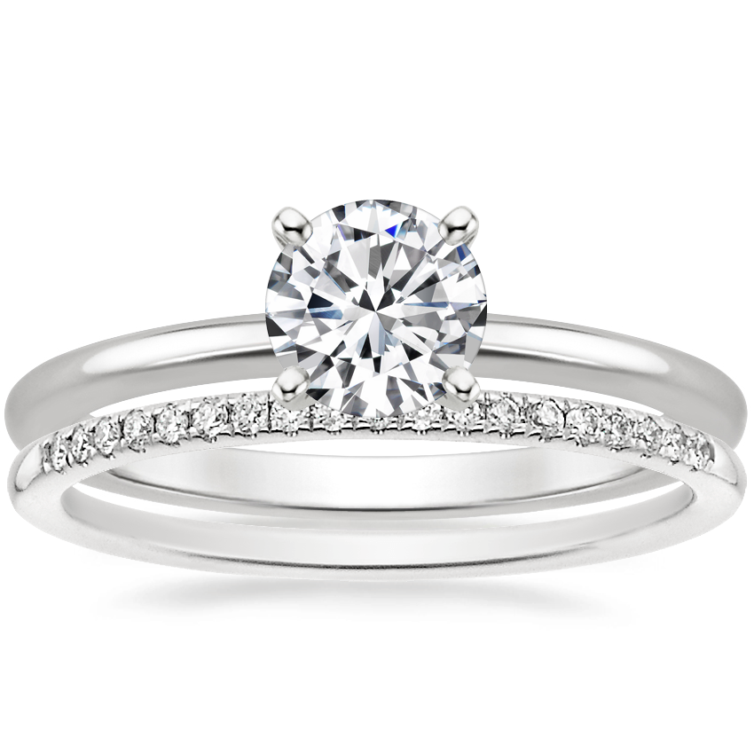 Platinum Four-Prong Petite Comfort Fit Ring with Whisper Diamond Ring (1/10 ct. tw.)