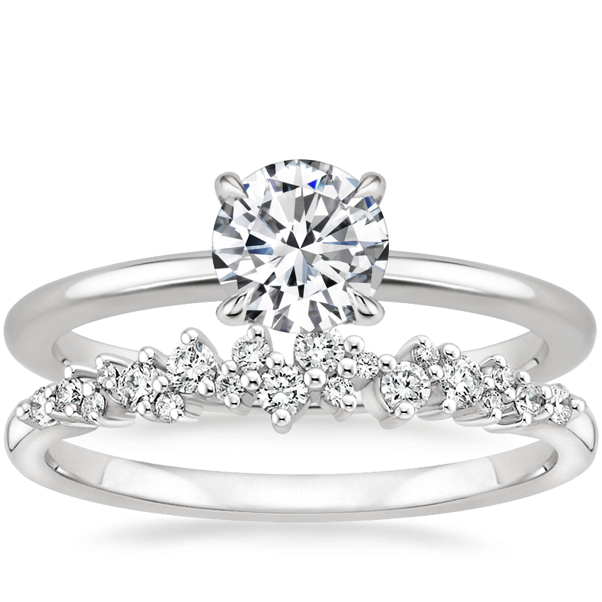 18K White Gold Petite Elodie Ring with Aurora Diamond Ring