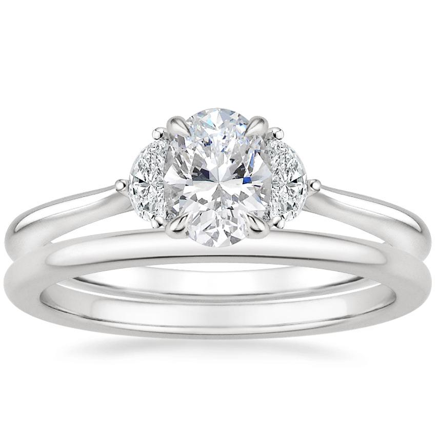 Platinum Half Moon Diamond Ring with Petite Comfort Fit Wedding Ring