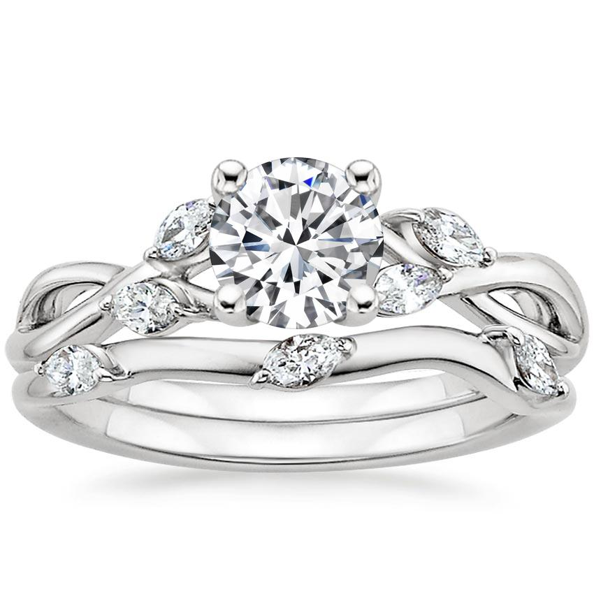 18K White Gold Willow Bridal Set (1/4 ct. tw.), top view