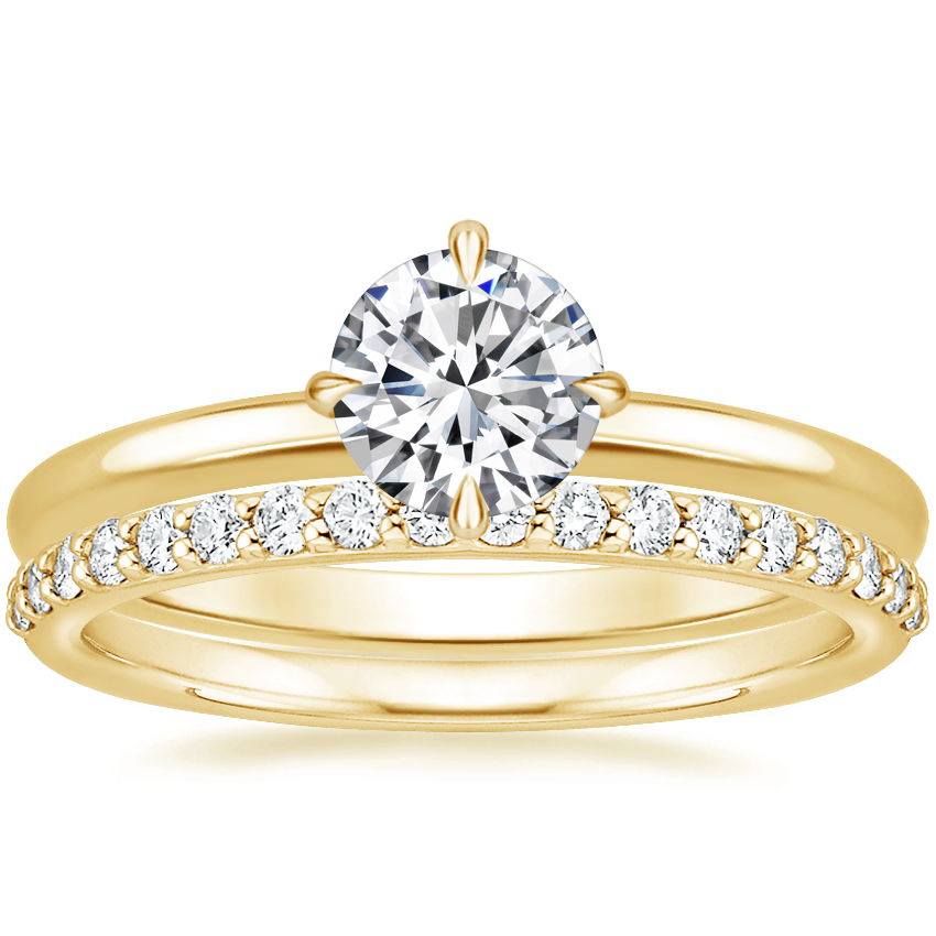 18K Yellow Gold North Star Ring with Petite Shared Prong Diamond Ring (1/4 ct. tw.)