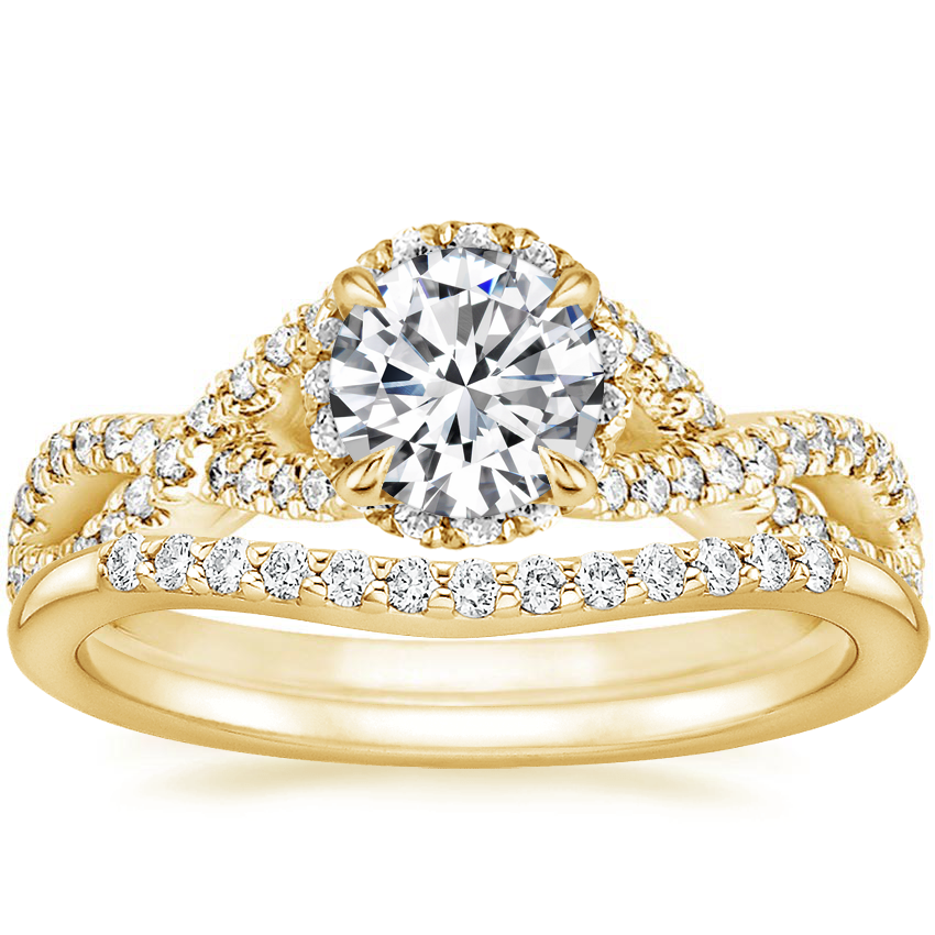 18K Yellow Gold Entwined Halo Diamond Ring (1/3 ct. tw.) with Petite Curved Diamond Ring (1/10 ct. tw.)