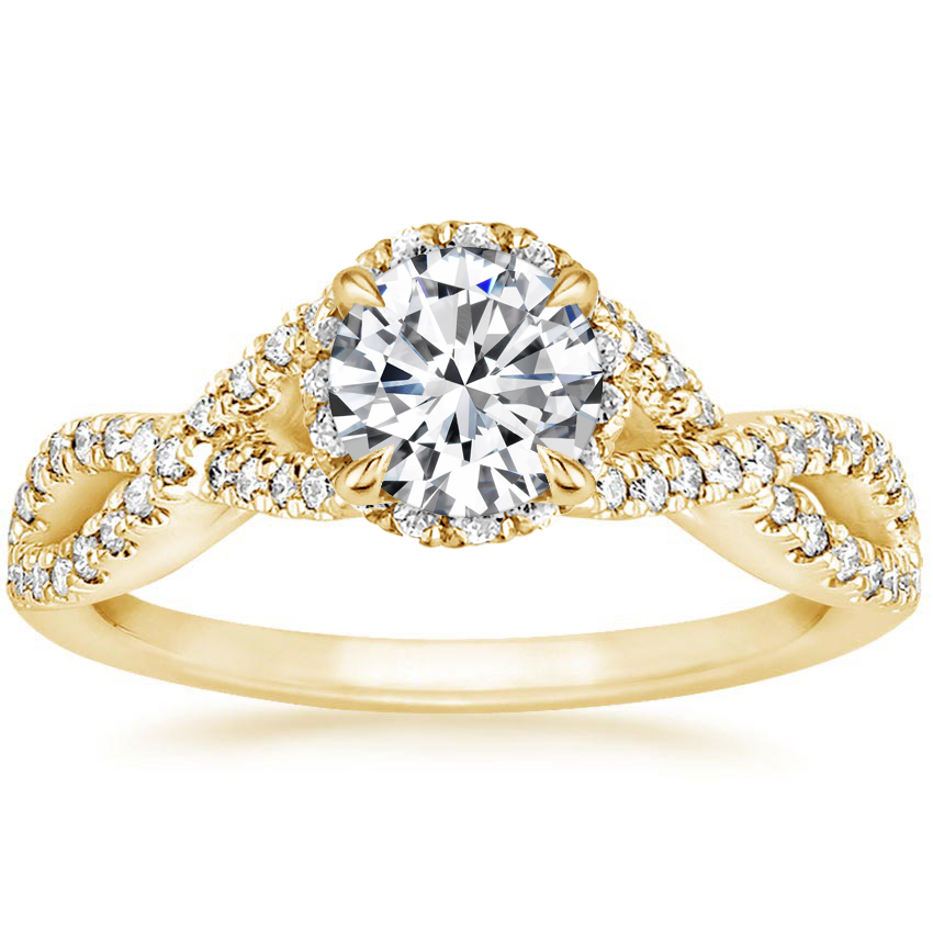 Round 18K Yellow Gold Entwined Halo Diamond Ring (1/3 ct. tw.)