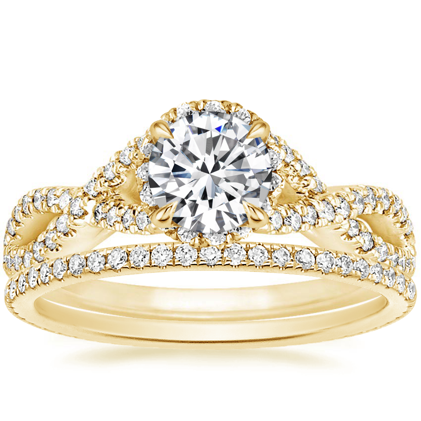 18K Yellow Gold Entwined Halo Diamond Ring (1/3 ct. tw.) with Whisper Eternity Diamond Ring (1/4 ct. tw.)