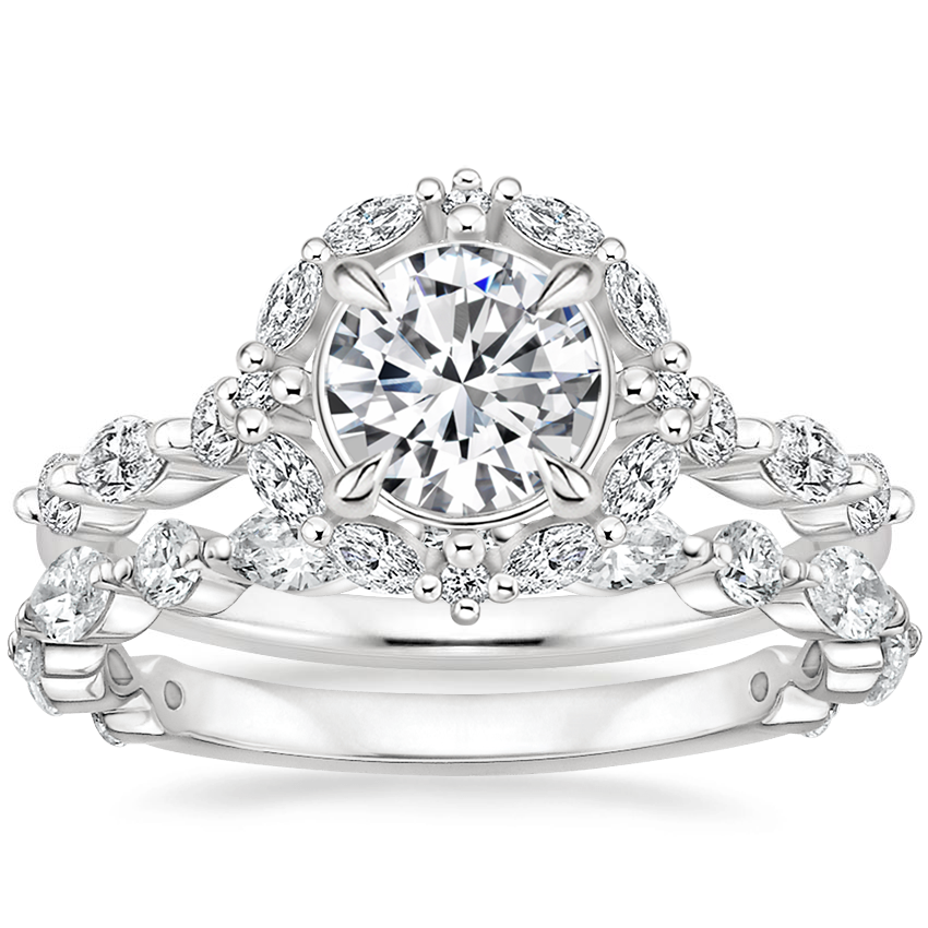 Platinum Versailles Halo Diamond Ring (1/2 ct. tw.) with Luxe Versailles Diamond Ring (1/2 ct. tw.)