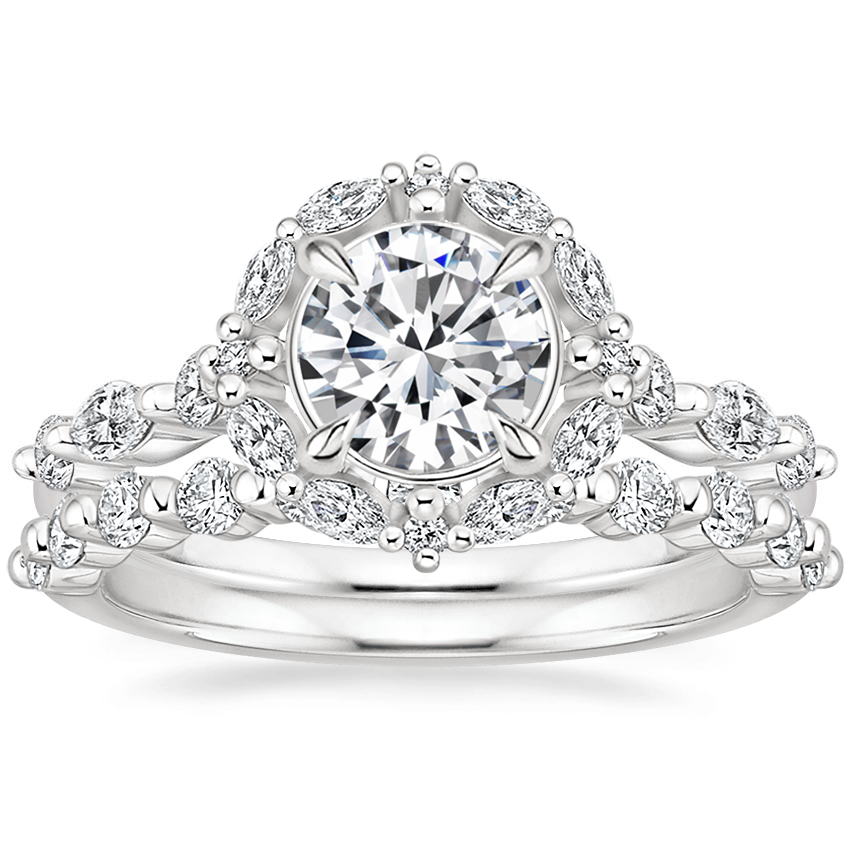 Platinum Versailles Halo Diamond Ring (1/2 ct. tw.) with Marseille Diamond Ring (1/3 ct. tw.)