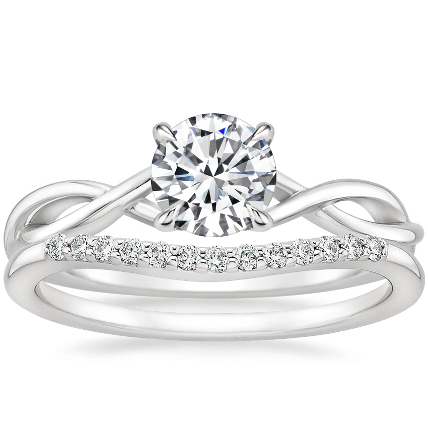 18K White Gold Open Twist Diamond Ring with Petite Curved Diamond Ring (1/10 ct. tw.)