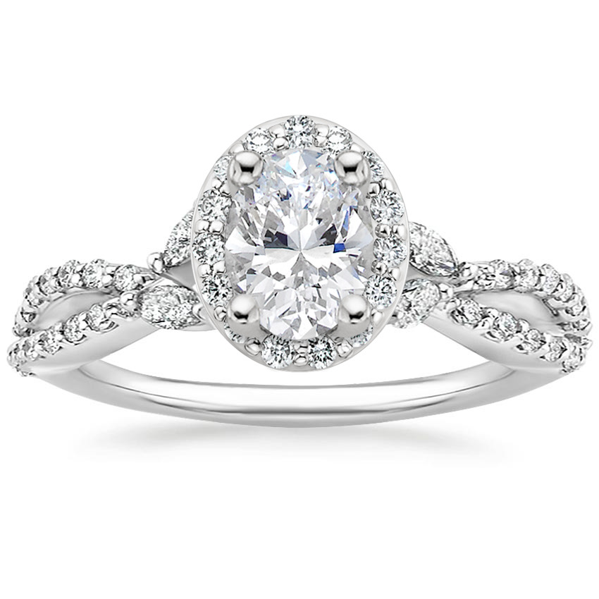 Oval Luxe Floral Halo Engagement Ring
