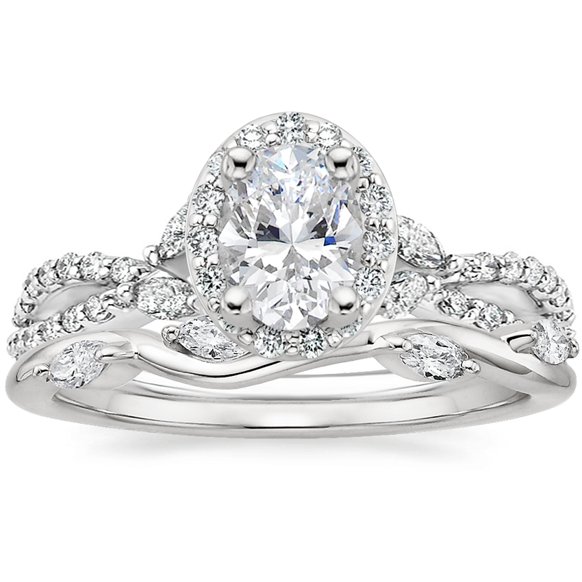 18K White Gold Luxe Willow Halo Diamond Ring (1/2 ct. tw.) with Winding Willow Diamond Ring (1/8 ct. tw.)