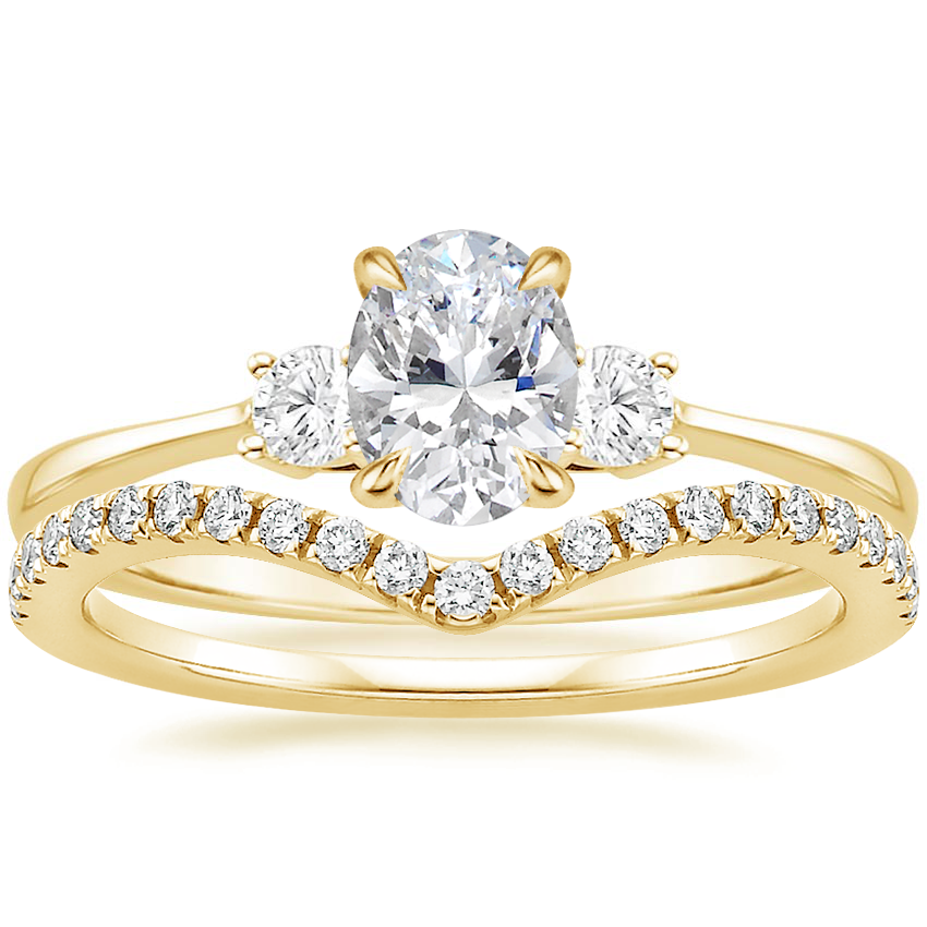 18K Yellow Gold Selene Diamond Ring (1/10 ct. tw.) with Flair Diamond Ring (1/6 ct. tw.)