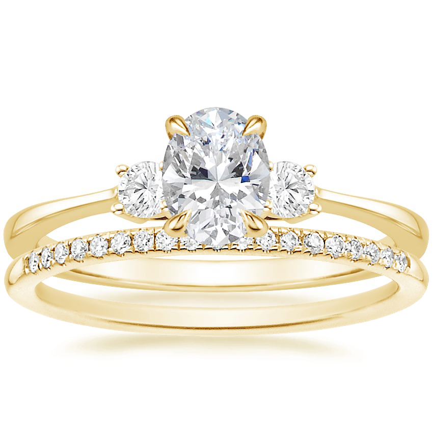 18K Yellow Gold Selene Diamond Ring (1/10 ct. tw.) with Whisper Diamond Ring (1/10 ct. tw.)