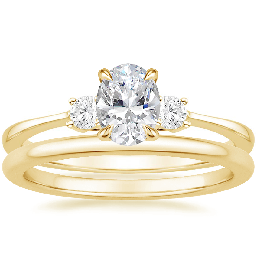 18K Yellow Gold Selene Diamond Ring (1/10 ct. tw.) with Petite Comfort Fit Wedding Ring