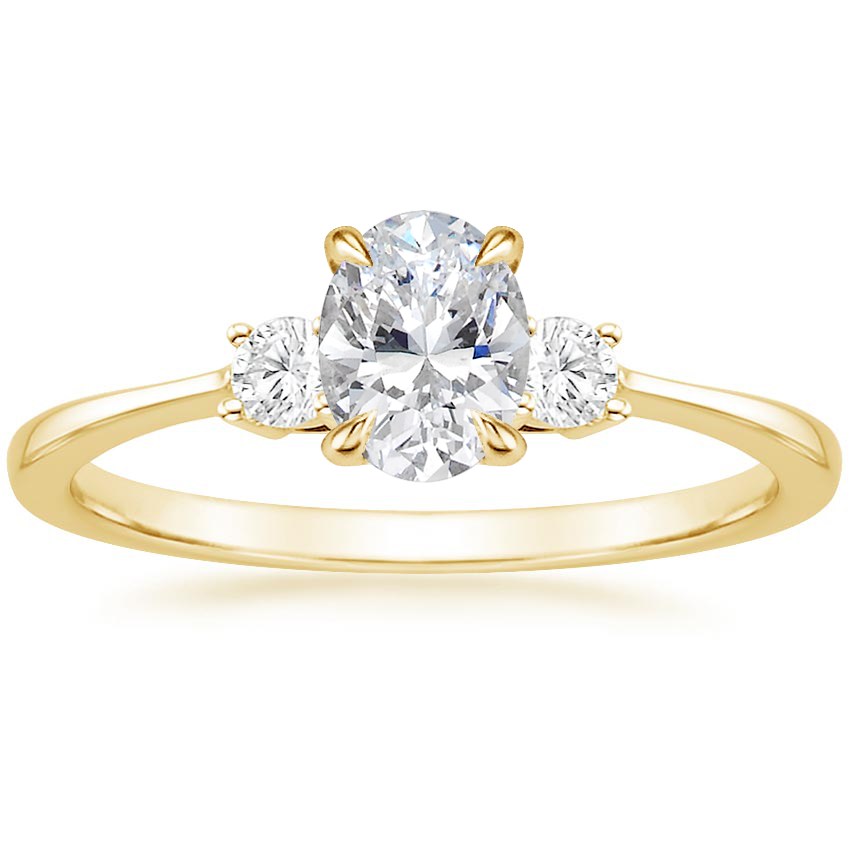 Oval Petite Three Stone Engagement Ring