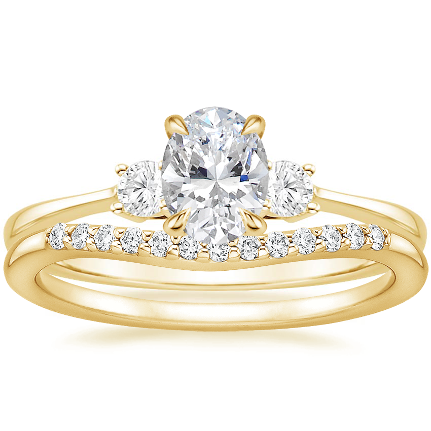 18K Yellow Gold Selene Diamond Ring (1/10 ct. tw.) with Petite Curved Diamond Ring (1/10 ct. tw.)