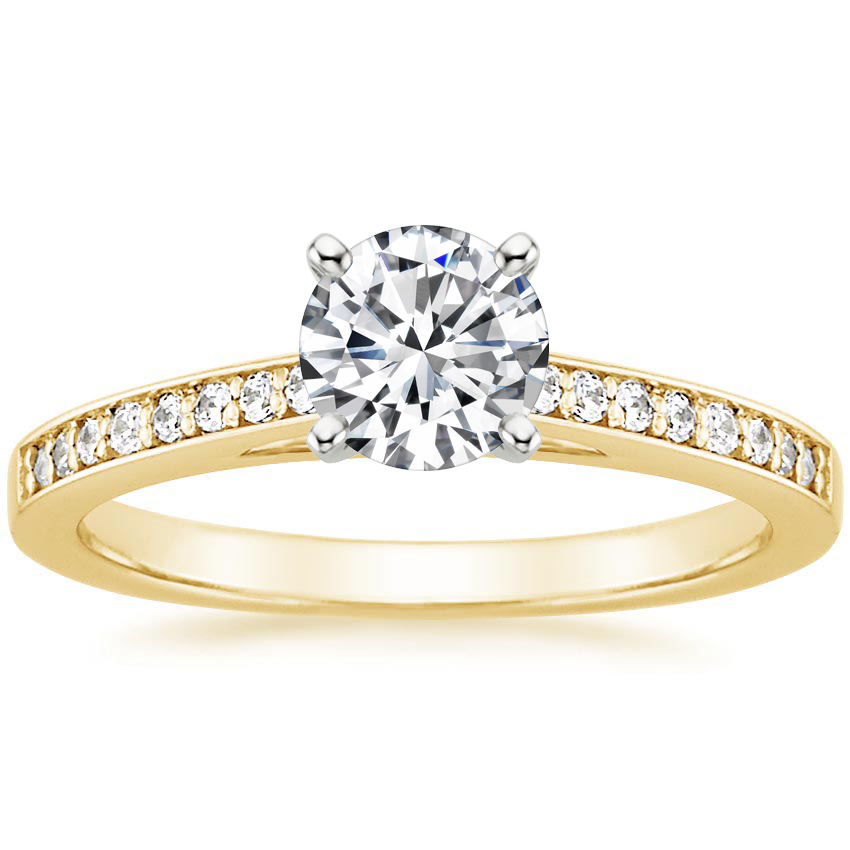 Round 18K Yellow Gold Starlight Diamond Ring