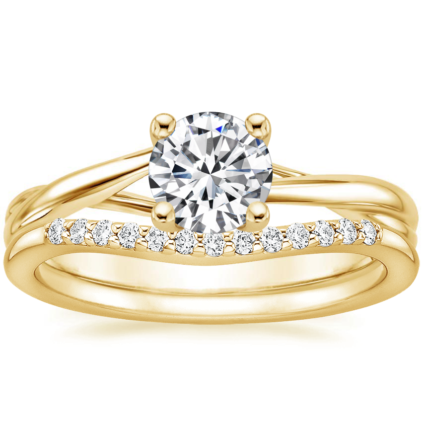 18K Yellow Gold Grace Ring with Petite Curved Diamond Ring (1/10 ct. tw.)