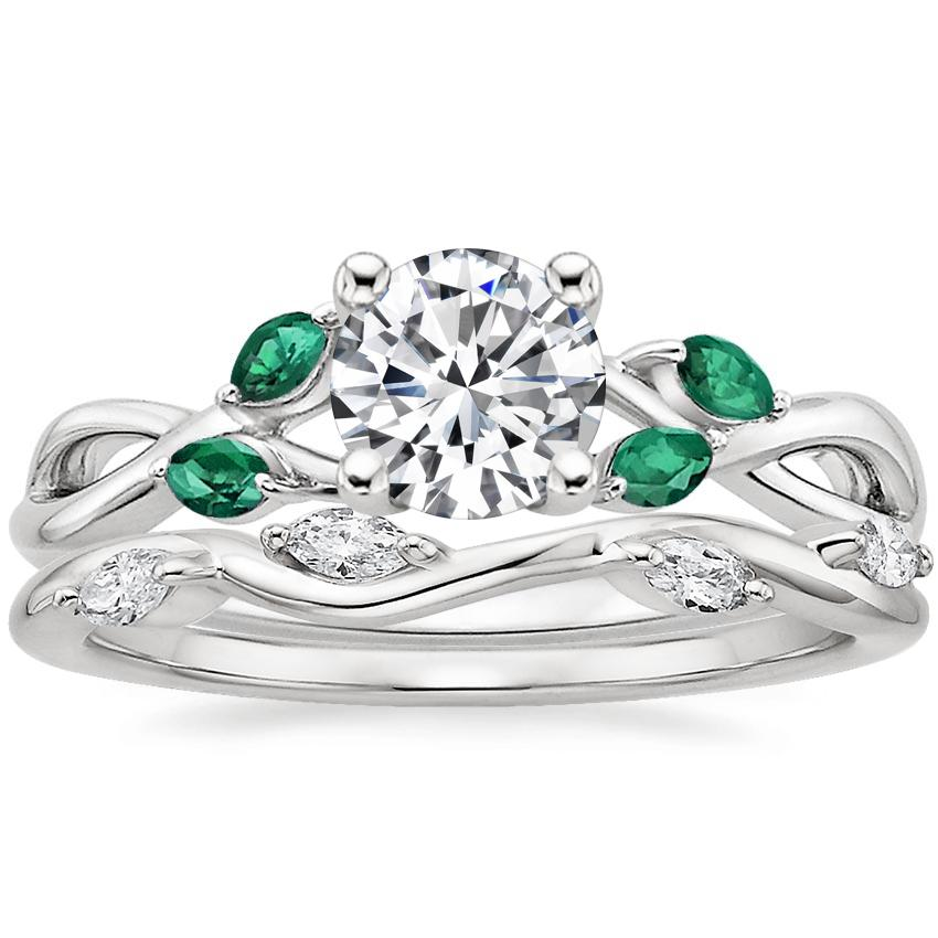 18K White Gold Willow Ring With Lab Emerald Accents with Winding Willow Diamond Ring (1/8 ct. tw.)