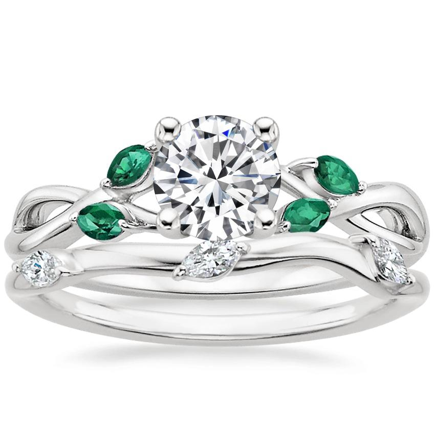 Platinum Willow Ring With Lab Emerald Accents with Willow Diamond Ring (1/10 ct. tw.)