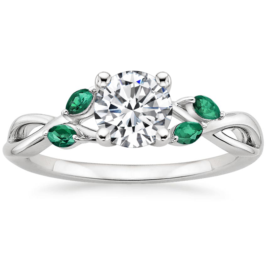 Round Platinum Willow Ring With Lab Emerald Accents