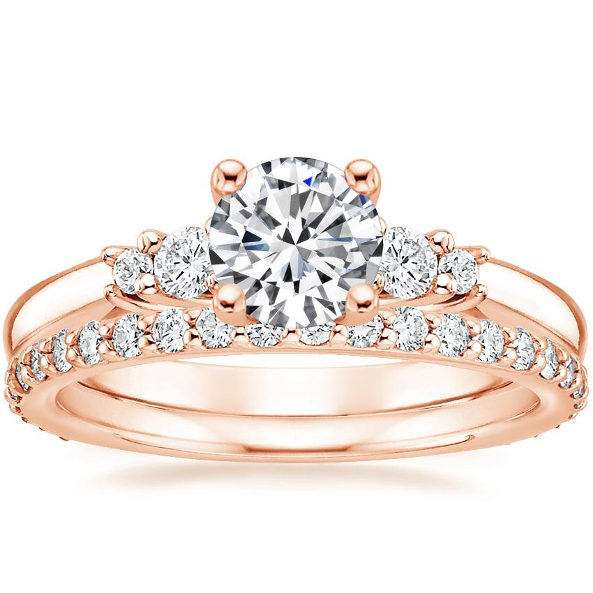 14K Rose Gold Rialto Diamond Ring with Petite Shared Prong Eternity Diamond Ring (1/2 ct. tw.)