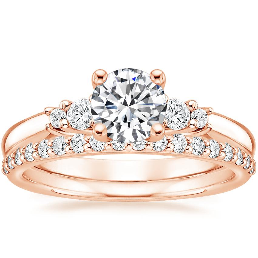 14K Rose Gold Rialto Diamond Ring with Petite Shared Prong Diamond Ring (1/4 ct. tw.)