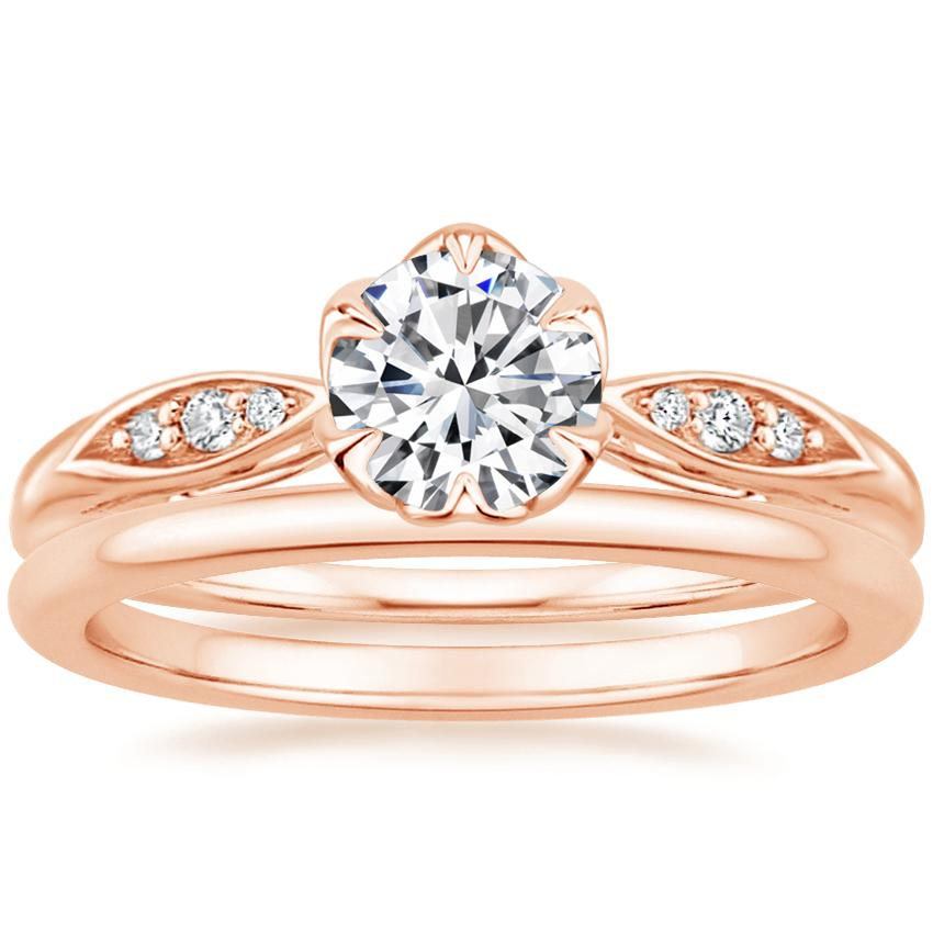 14K Rose Gold Peony Diamond Ring with Petite Comfort Fit Wedding Ring