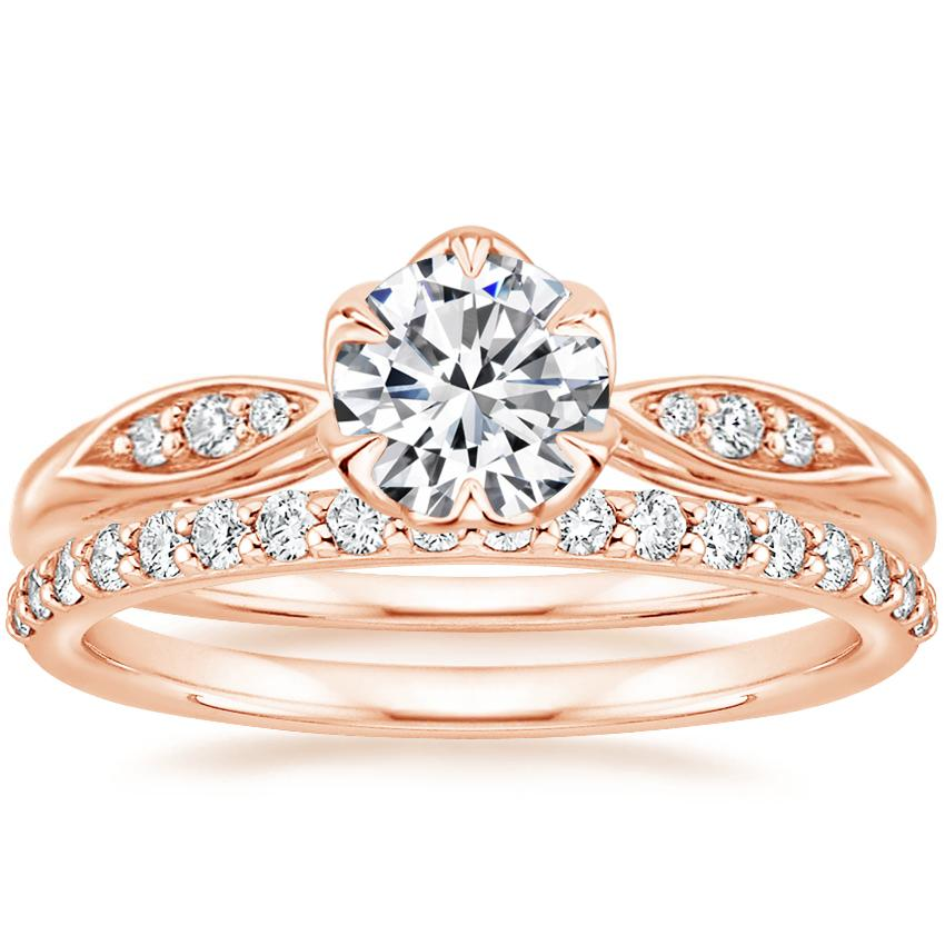 14K Rose Gold Peony Diamond Ring with Petite Shared Prong Diamond Ring (1/4 ct. tw.)