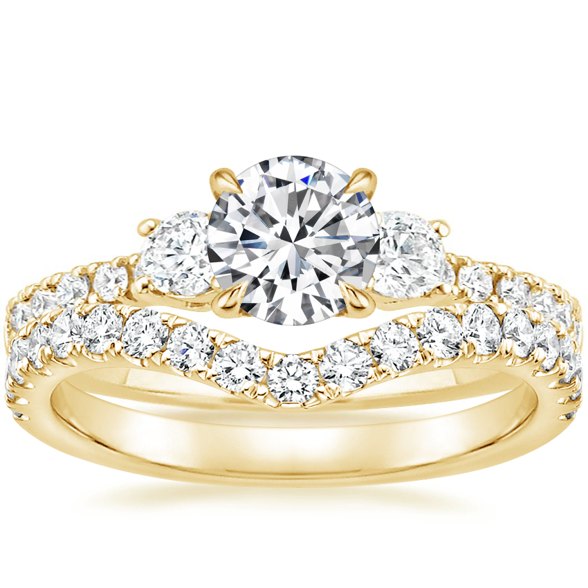 18K Yellow Gold Radiance Diamond Ring (1/3 ct. tw.) with Luxe Flair Diamond Ring (1/3 ct. tw.)