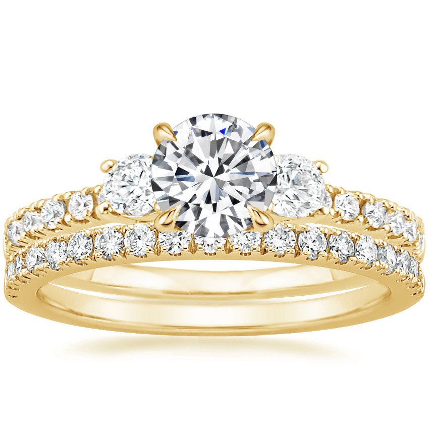 18K Yellow Gold Radiance Diamond Ring (1/3 ct. tw.) with Bliss Diamond Ring (1/5 ct. tw.)
