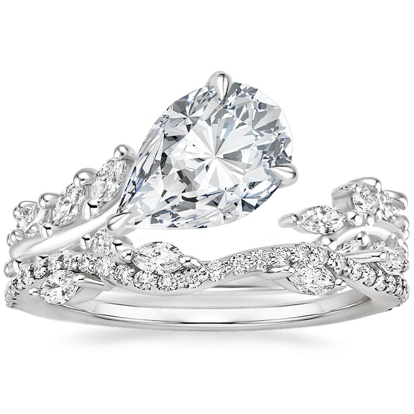 Platinum Sweeping Ivy Diamond Ring (1/2 ct. tw.) with Luxe Winding Willow Diamond Ring (1/4 ct. tw.)