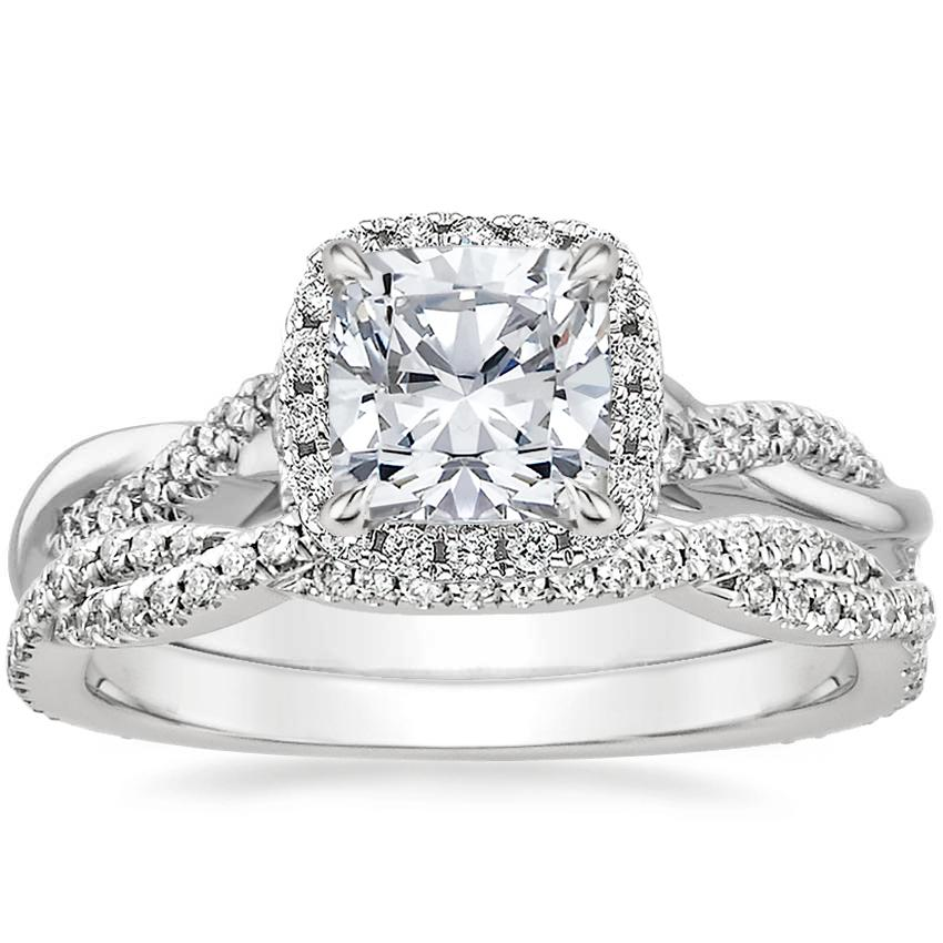 Platinum Petite Twisted Vine Halo Diamond Ring (1/4 ct. tw.) with Petite Luxe Twisted Vine Diamond Ring